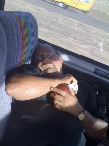 Muahahaha...I caught Richie my assistant soccer coach/stepdad sleepin' I think he was getting ready to eat his apple!!!