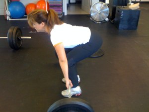 Sara Marthoski in the stating position of the deadlift