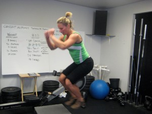 Melissa Faught doing box jumps